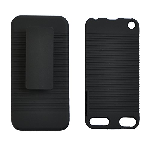 Seadream Black Rubberized Hard CASE + Belt Clip Holster Kickstand Combo for iPod Touch 5...