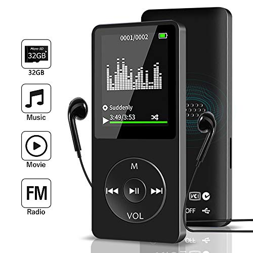 Aigital MP3 Muisc Player with 32 GB Micro SD Card and Support Up to 128GB, Portable Media...