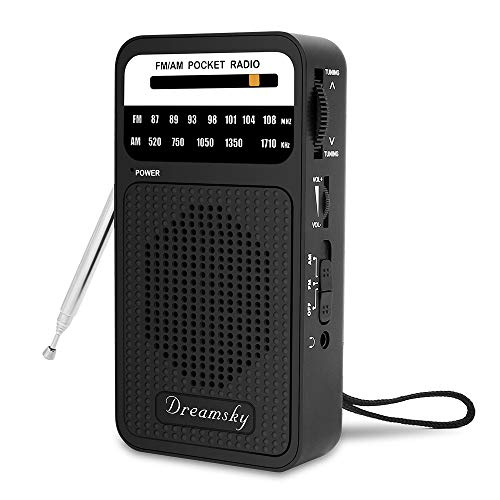 DreamSky Pocket Radios, Battery Operated AM FM Radio with Loud Speaker, Great Reception,...