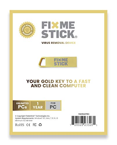 FixMeStick PRO Gold Computer Virus Removal Stick for Windows PCs - Unlimited Use on...