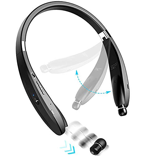 Bluetooth Headphones Wireless Neckband Headset - Sweatproof Foldable...
