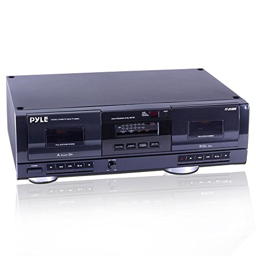 Dual Stereo Cassette Tape Deck - Clear Audio Double Player Recorder System w/ MP3 Music...