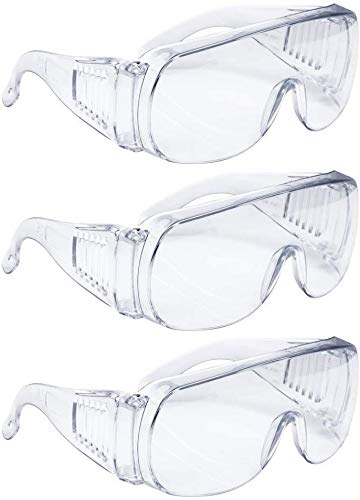 Safety Protective Glasses Crystal Clear Eye Protection Anti-Virus Dust-Proof Wind-Proof...