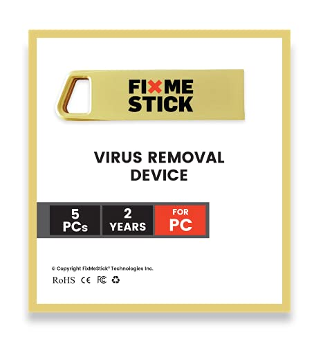 FixMeStick Gold Computer Virus Removal Stick for Windows PCs - Unlimited Use on Up to 5...