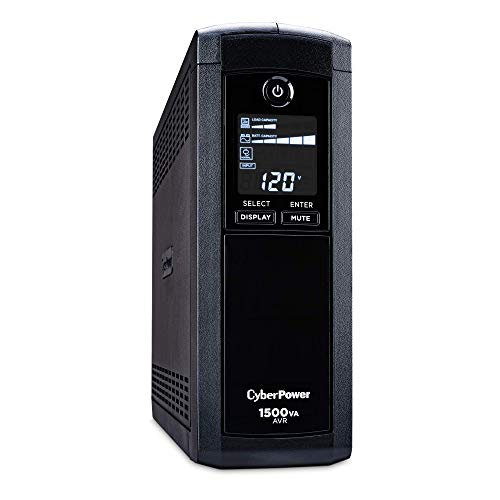 CyberPower CP1500AVRLCD Intelligent LCD UPS System, 1500VA/900W, 12 Outlets, AVR,...