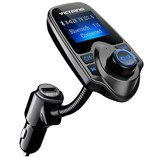 VicTsing Bluetooth FM Transmitter, Wireless In-Car Audio Adapter /w USB Port, Support AUX...