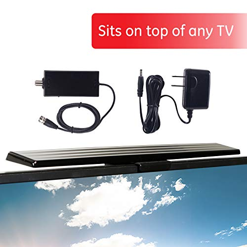GE UltraPro HD Amplified TV Antenna, Easy Mount to Top of TV Design, Supports 4K 1080P...