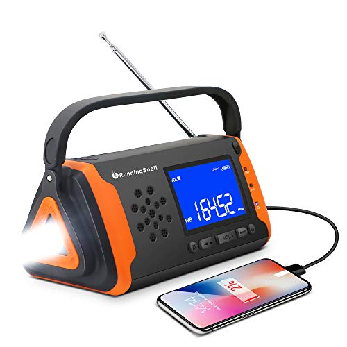 Emergency NOAA Weather Crank Solar Powered Portable Radio with 4000mAh Battery Power for...