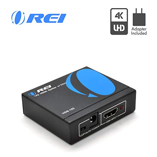 4K HDMI Splitter 1 in 2 Out by OREI - Ultra HD @ 30 Hz 1x2 Ver. 1.4 HDCP, Power HDMI...