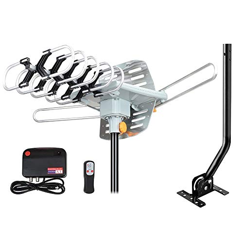 Outdoor Amplified HD Digital TV Antenna 150 Miles Range -with 360 Degree Rotation,...