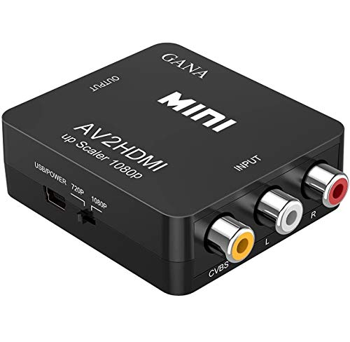 RCA to HDMI, GANA 1080P Mini RCA Composite CVBS AV to HDMI Video Audio Converter Adapter...