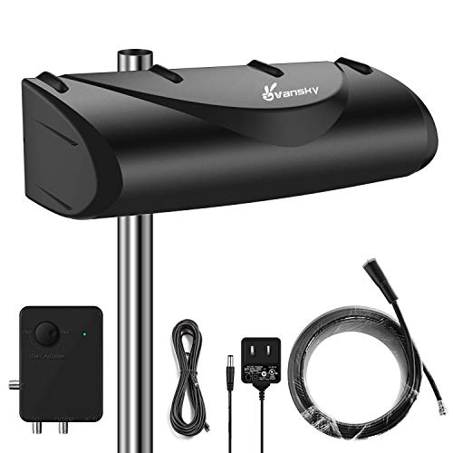 Outdoor TV Antenna 150 Miles 28dB High Gain Amplified Omnidirectional Signal Booster,...