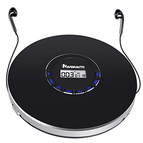Portable CD Player with Headphones, 2000mAh Rechargeable CD Player for Car with LED...