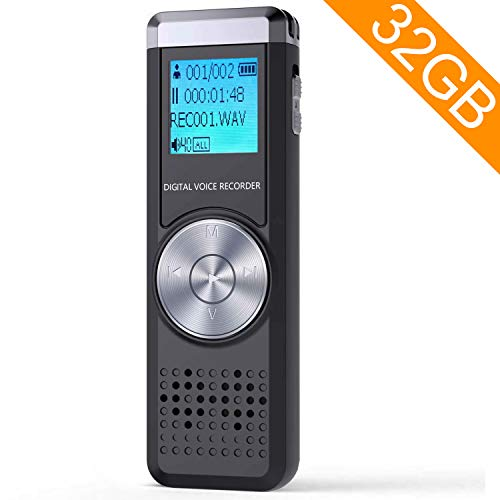 32GB Digital Voice Recorder,TENSAFEE Dictaphone Sound Activated Recorder, Portable...