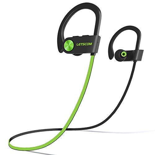LETSCOM Bluetooth Headphones IPX7 Waterproof, Wireless Sport Earphones, HiFi Bass Stereo...