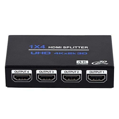 1x4 HDMI Splitter, 1 in 4 Out HDMI Splitter Audio Video Distributor Box Support 3D & 4K x...