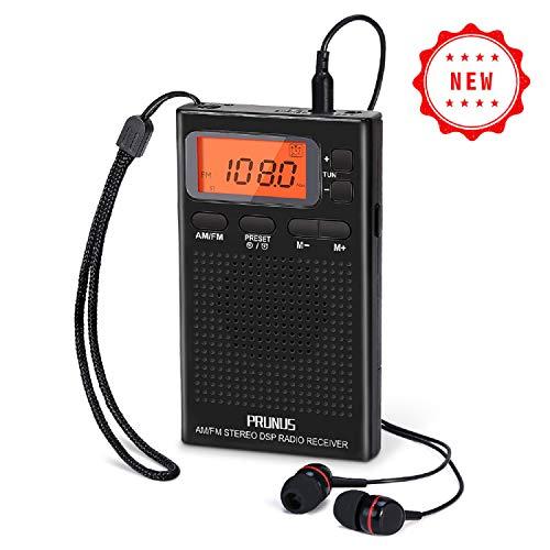 PRUNUS J-125 Portable AM FM Pocket Radio with Earphones, Digital Battery Operated Walkman...