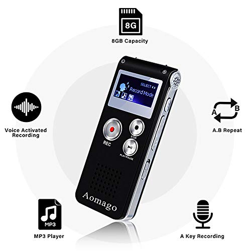 Digital Voice Recorder Voice Activated Recorder for Lectures, Meetings,...