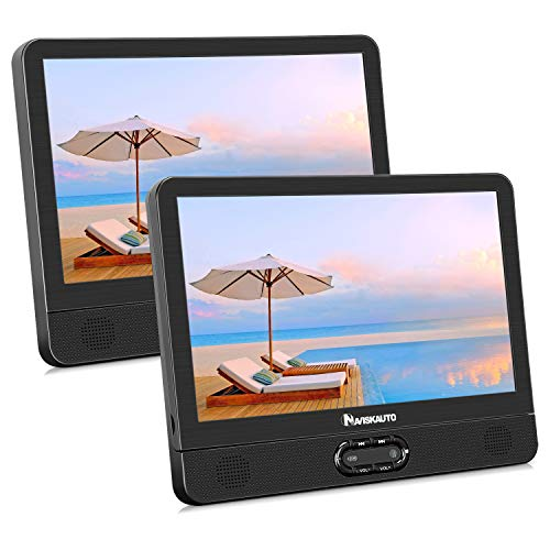 NAVISKAUTO 12' Portable Dual Screen DVD Player for Car with Built-in Rechargeable Battery...