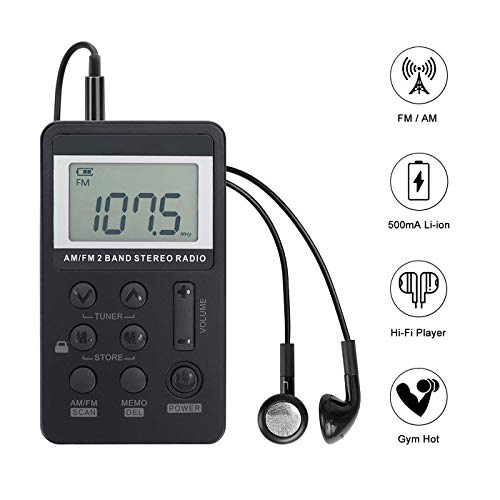Personal AM/FM Pocket Radio Portable VR-robot, Mini Digital Tuning Walkman Radio, with...