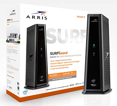 ARRIS SURFboard SBG8300 DOCSIS 3.1 Gigabit Cable Modem & AC2350 Dual Band Wi-Fi Router,...