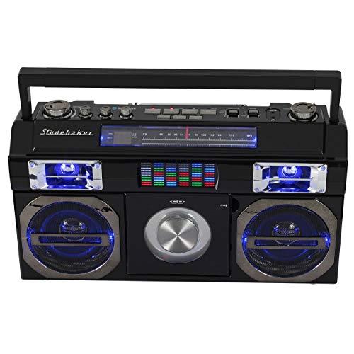 Studebaker SB2145B 80's Retro Street Bluetooth Boombox with FM Radio, CD Player, LED EQ,...
