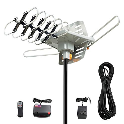 Vansky Outdoor 150 Mile Motorized 360 Degree Rotation OTA Amplified HD TV Antenna for 2...