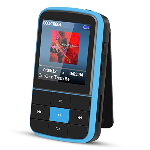 Clip MP3 Player, AGPTEK 16GB Bluetooth MP3 Player with Sweatproof Silicone Case and Sport...