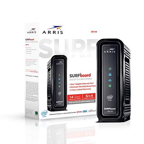 ARRIS SURFboard SB6190 DOCSIS 3.0 Cable Modem, Approved for Cox, Spectrum, Xfinity &...