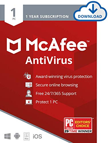 McAfee AntiVirus Protection, 1PC, Internet Security Software, 1 Year Subscription-...