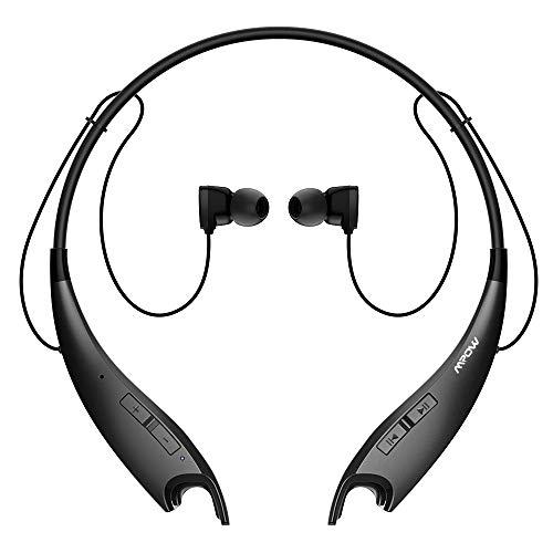 Mpow Jaws Gen-3 Bluetooth Headphones, Wireless Neckband Headphones 13H Playtime, Bluetooth Headset W/Call Vibrate Alert & CVC 6.0 Noise Cancelling Mic, Bluetooth Earbuds Magnetic, Black