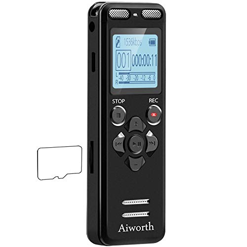 16GB Digital Voice Activated Recorder for Lectures - aiworth 1160 Hours Sound Audio...