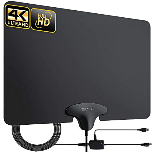 TV Antenna - EVEO Ultra-Thin Amplified Indoor HDTV Antenna, Digital Antenna for HDTV...