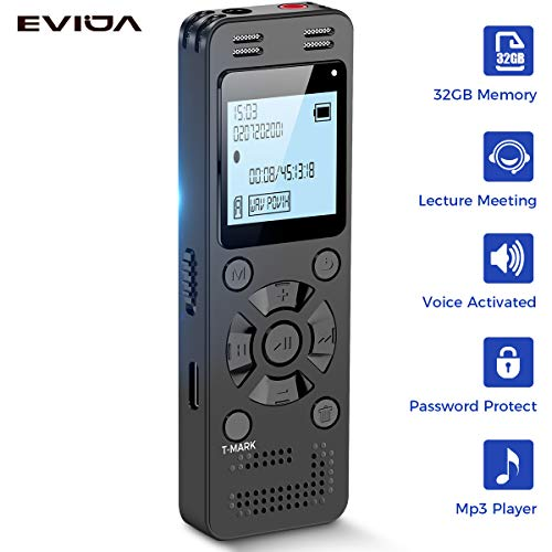 32GB Digital Voice Recorder for Lectures Meetings - EVIDA 2324 Hours Voice Activated...