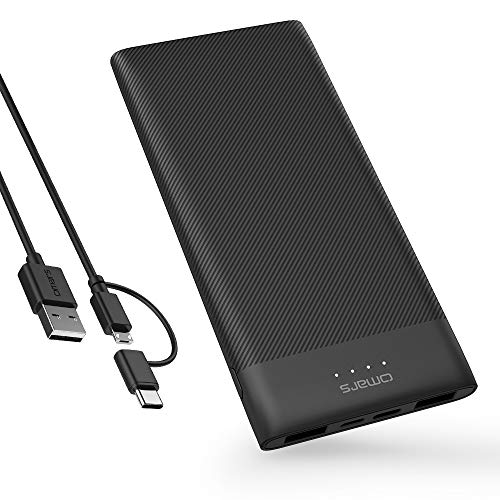 Omars Power Bank 10000mAh USB C Battery Pack Slimline Portable Charger with Dual USB...