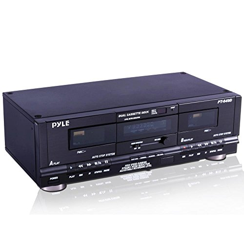 Pyle Home Digital Tuner Dual Cassette Deck | Media Player | Music Recording Device with...
