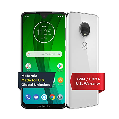 Moto G7 with Alexa Hands-Free – Unlocked – 64 GB – Clear White (US Warranty) –...