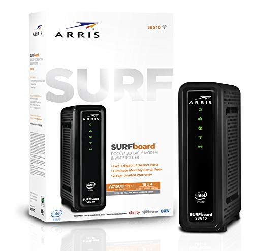 ARRIS SURFboard SBG10 DOCSIS 3.0 Cable Modem & AC1600 Dual Band Wi-Fi Router, Approved for...