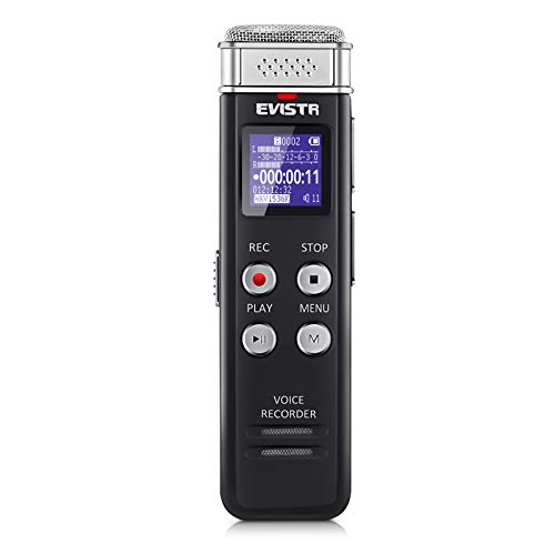 EVISTR 16GB Digital Voice Recorder Voice Activated Recorder with Playback - Upgraded Small...