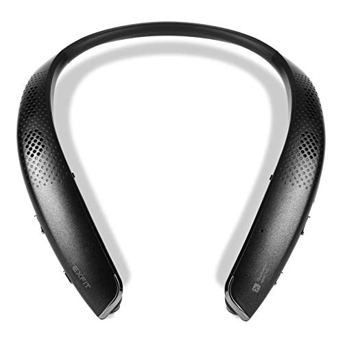 EXFIT BCS-S1000 Wireless Bluetooth Headphones, Surround Sound External Speakers, Retractable Earbuds, Siri and Google Assistant Compatible, 25 Hour Battery (Black)