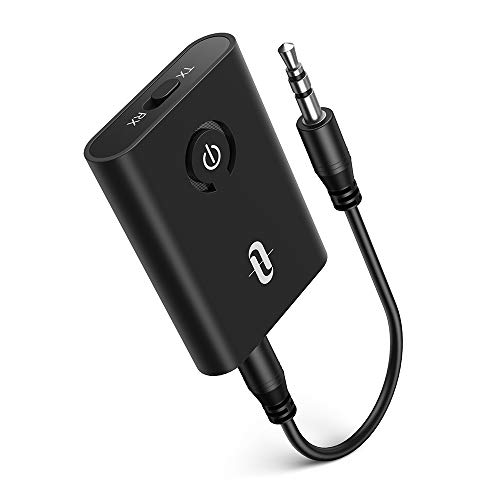 TaoTronics Bluetooth 5.0 Transmitter and Receiver, 2-in-1 Wireless 3.5mm Adapter (aptX Low Latency, 2 Devices Simultaneously, For TV/Home Sound System)