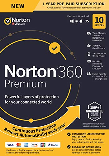 Norton 360 Premium – Antivirus Software for 10 Devices with Auto Renewal - Includes VPN,...