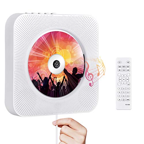 Portable CD Player with Bluetooth, Qoosea Wall Mountable CD Players Music Player Home...