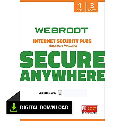 Webroot Internet Security Plus with Antivirus Protection Software | 3...