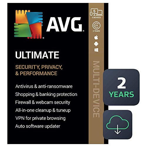 AVG Ultimate 2020 | Antivirus+Cleaner+VPN | 5 Devices, 2 Years [PC/Mac/Mobile Download]