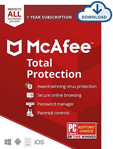 McAfee Total Protection, Unlimited Devices, Antivirus Software, 1 Year...