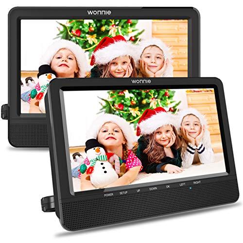 WONNIE 10.5'' Car Dual DVD Player Portable Kids Headrest CD Players, Two Mounting Brackets...