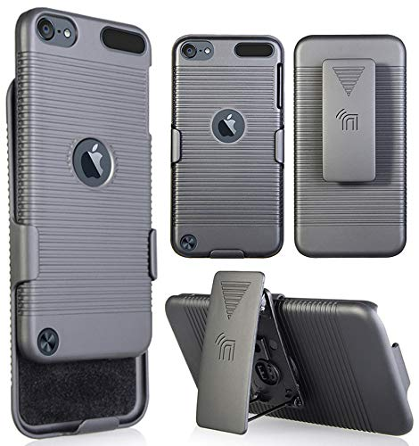 Nakedcellphone iPod Touch 7/6/5 Case with Clip, Black Ribbed Hard Cover and Belt Hip...