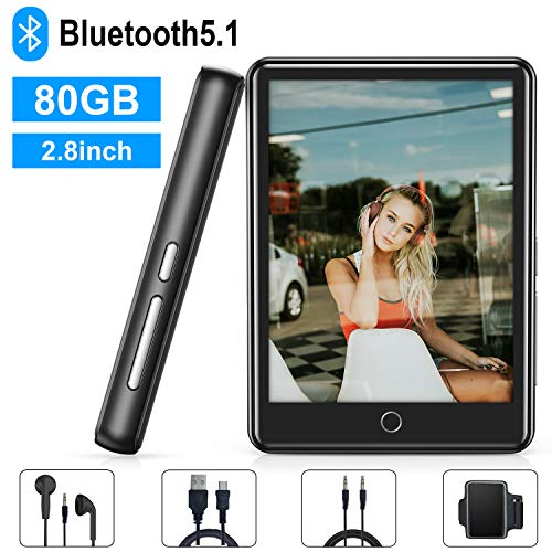 MP3 Player, 80GB MP3 Player with Bluetooth 5.1, 2.8'' Full Touch Screen Portable Bluetooth...