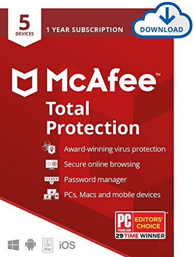 McAfee Total Protection, 5 Device, Antivirus Software, Internet Security, 1 Year...